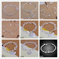 Wholesale Silver 925 Dog Charm - Mickey round dog sterling silver bracelet 8 pieces mixed style GTB4 Brand new high grade fashion women's 925 silver bracelet