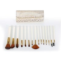 Wholesale Top Beauty Cases - Full Function Professional 15Pcs Top Quality Makeup Brushes Set With Leather Case Women Beauty Cosmetic Tool Maquiagem