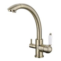 Wholesale Antique Sink Water Taps - 2017 Rushed Troditional Style Antique Bronze Kitchen Faucet Sink Mixer Tri-Flow Three Way Water Filter Tap