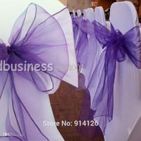 ingrosso sedie di banchetto viola-All'ingrosso-Fatory prezzo 100pcs di alta qualità Cadbury viola organza telai della sedia Bow Cover Wedding Banquet Decorazione della sede