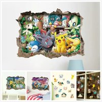 3D Cartoon Animal Poke Pikachu Stickers muraux pour enfants Chambres Nursery Living Room Nursery Bedroom Décorations murales Décoration intérieure PVC
