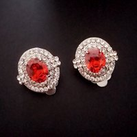 pendientes de clip AAA swiss cubic zirconia diamond ruby ​​wedding wedding sparkled with little rhinestones Brand Jewelry outlet Rihood Designs