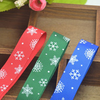 Wholesale Hairbows Supplies - 25mm Christmas Snowflake Pattern Printed Green Grosgrains Ribbons Hairbows Party Craft Supplies Christmas Holiday