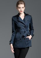 Wholesale Slim Fit Coats Women - HOT Classic! women fashion england style double breasted short trench coat brand designer slim fit cotton trench for women size S-XXL B8329