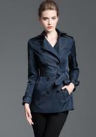 тонкое короткое пальто оптовых-HOT Классический! женщины моды Англии стиль двубортные короткие пальто / бренд дизайнер пригонки хлопок траншею для женщин размер S-XXL B8329