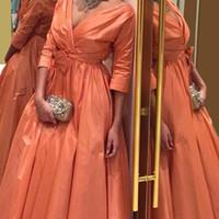 ingrosso vestito taffettato arancione-2016 nuovi abiti da sera in taffettà Una linea con scollo a V maniche a tre quarti Abiti da ballo lunghi da sera arancione