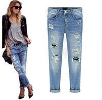 Wholesale Torn Jeans Women Plus Size - Vintage retrol 2016 torn ripped jeans for women fashion new denim jean with holes plus size trousers pantalon femme