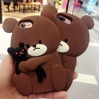 Wholesale Phone Covers Teddy Bears - Brown Bear Hug Toy Doll Soft Silicon Phone Case For iPhone 8 6 6s 7 Plus Teddy Bear Case Back Cover Opp Bag