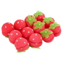 Wholesale Soft Curlers - Wholesale-24pcs Rollers Curlers Strawberry Balls Hair Care Soft Sponge Lovely DIY Tool Wholesale