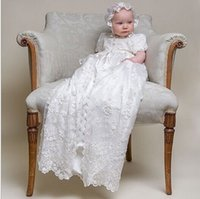 2016 Handmade Hot New Ivory White Infant Lolita Dress with Bonnet Robe Baby Lace Baptism Christening Gown Dress Бесплатная доставка Bonnet