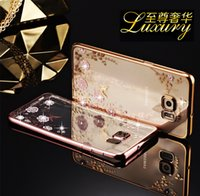 Wholesale Luxury Garden Wholesale - Luxury Secret Garden Rose Gold and White TPU Plating Clear Electroplate Phone Case for Samsung Note3 Note4 Note5