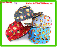 Wholesale Crochet Baseball Hat Patterns - New Cartoon QQ Emoji Pattern Caps Children Baseball Cap Flat Along Parental Hip hop Hats For 3-10years old Boys Kids Outdoor Sports Caps 021
