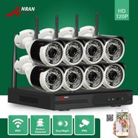 Wholesale Ip Surveillance Camera Megapixel - DHL FREE ANRAN Plug and Play 8CH WIFI NVR 36IR Night Outdoor Wireless 1.0 Megapixel 720P Camera WIFI IP Security Surveillance System