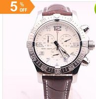 Wholesale Dhgate White Dresses - DHgate selected new supplier luxury brand watches seawolf chrono white dial brown leather belt watch quartz battery watch mens dress watches