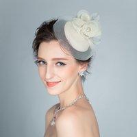 Wholesale Elegant Hair Flowers - 2016 New Wedding Bridal Hat Vintage Fascinator Handmade Linen gauze Flower Hat Lady's Elegant Party Headdress Hair Accessories
