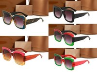 Wholesale Wrap Top Red - 0083 Popular Sunglasses Luxury Women Brand Designer 0083S Square Summer Style Full Frame Top Quality UV Protection Mixed Color Come With Box
