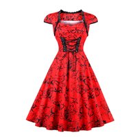 Wholesale Victorian Cocktails - Women's Red Lace-Up Cotton Lolita Dress Vintage Punk Victorian Steampunk Short Cap Sleeve Sweetheart Cocktail Homecoming Dress Plus Size