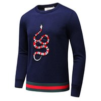 Wholesale T Sweater Men - Autumn and winter high quality cashmere men sweater embroidery decoration fashion sweater big snake Stitching t shirt