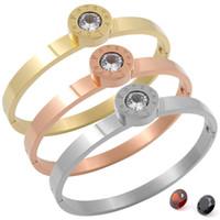 ingrosso braccialetti migliori dell'oro-Best Friend Gift Love Forever Open Polsino Promise Bangle in acciaio inossidabile oro rosa 3 Cambia pietre Braccialetti per le donne