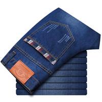 jeans moda fábrica venda por atacado-Atacado-clássico dos homens da marca de moda jeans reta homens jeans calças de brim tendência para homens tamanho grande fábrica de boa qualidade grande atacado