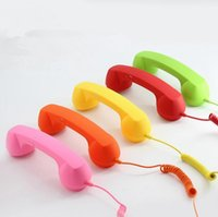 Wholesale Retro Phone Handset Wholesale - 3.5mm Mic Retro Telephone Handsets Radiation-proof Cell Phone Handset Receiver For iPhone Classic Headphone Microphone 100pcs OOA2966