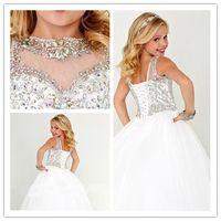 küçük kızlar boyutu 12 elbiseler toptan satış-Kristal Beyaz Balo Çiçek Kız Elbise Yeni Küçük Kızlar için Pageant Elbiseler Artı Boyutu elbise 12 Kızlar Parti Elbise 2016