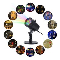 Discount snowflake projector lights - Waterproof Snowflake Rotating Projector Lights 14 Pattern LED Moving Projector Landscape Stage Light for Christmas Indoor Outdoor Decoration