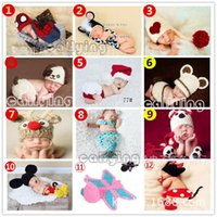 Wholesale Baby Frog Hat Set - Baby Infant Frog Animal Costume Crochet Knitted Hat Cap Girl Boy Diaper Crochet Cotton Knit Custome Set 0-24M Free shipping E677
