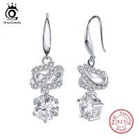 Wholesale Unique Design 925 Earring - ORSA JEWELS 925 Silver Women Dangle Earrings Pure Sterling Long Unique Design Clear CZ Girl Wedding Jewelry SE50