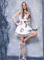 Wholesale-2016 Fantasia Women Sexy White Dye Ghost Noiva Dress Exotic Devil Zombie Bride Halloween Carnival Cosplay Costume One Outfit