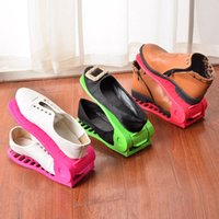 Wholesale Position Design - Practical Household Shoe Rack 4 Position Adjustable Plastic Storage Hanger Hollowed Out Design Shoes Organizer Flexible 2 8yy B