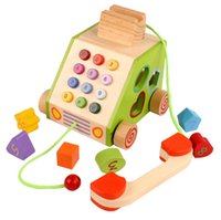 Wholesale Child Baby Telephone - Wooden Simulation Multifunctional Telephone Baby Toys Wood Shape Building Block Pairing Game Tractor Child Puzzle Education Learning Toys