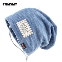 Wholesale Rock Beanies - Autumn Hip Hop Cap Winter Beanies Men Hats Rock Logo Casual Cap Turban Hat Bonnet Plus Velvet Caps For Men Beanie