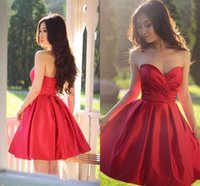 Wholesale Sexy Strapless Mini Sweetheart - Short Red Homecoming Dresses 2017 Robe de A line Sweetheart Party Gowns Sexy Illusion Open Back Knee Length Cheap Cocktail Dress