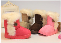 Wholesale red snow boots for kids for sale - Group buy Winter Children Boots Thick Warm Shoes Cotton Padded Suede Boots for Girls Snow Boots Kids Shoes Black Brown Red Pink