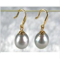 Wholesale South Sea Dangle Pearl Earrings - 2016 new GORGEOUS 10-11MM gray AAA+++ south sea pearl dangle earring 14K Y gold