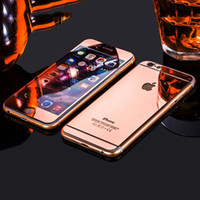 Wholesale Glass Mirror Plates - For iPhone X 8 plus Front Back Full Cover Tempered glass Plating Screen Protector Film Colorful Mirror Effect Protective Film for iphone 6s