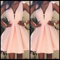 Wholesale Cute Plus Size Lilac Dresses - Pink Plain Pleated Zipper V Neck Sleeveless Sexy Homecoming Cute Mini Dress Simple Cheap Dresses Evening Wear
