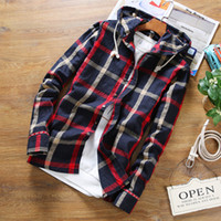 Wholesale Wholesale Shirt Fabric - Wholesale- 2017 Spring summer stylish men fall slim linen fabric long-sleeved shirt Male upscale hooded casual linen grid shirts size S-5XL