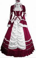 vestidos victorianos amarillos al por mayor-Traje de campana meridional sin mangas largo Vestido gótico de Lolita Fiesta victoriana Disfraces de Halloween para mujer Adultos Negro Rojo Rosa Azul Amarillo