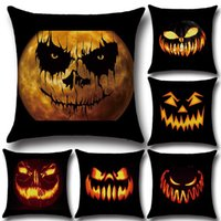 Wholesale Cushion Cover Cores - 45*45cm Square Flax Halloween Cartoon Printed Pillowcases Decorative Throw Pillow Case Cushion Cover Home Decor No Core