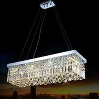 modern dikdörtgen sarkıt ışık toptan satış-LED Modern Dikdörtgen Kristal Avize Işık Fikstürü kolye Asılı lamba Salonu Yemek Odası Restoran Dekorasyon için