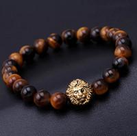Wholesale Mens Gold Bead - 2016 bead Charm bracelet buddha bracelets paracord natural stone lion bracelet men pulseras hombre bracciali uomo mens bracelets