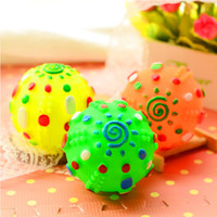 Wholesale Dog Bite Toy - Colored sun ball pet toys sound like thunder spherical plastic pet dog bite resistant dog toys molar decompression