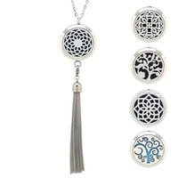 Wholesale Magnetic Pendant Stainless Steel - Chain as gift! Wholesale perfume locket 316L Stainless Steel Silver Magnetic Essential Oil Diffuser Locket Necklace With Tassel Design