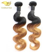 Wholesale hair two weft for sale - Factory Two Tone Color Peruvian Malaysian Indian Brazilian Ombre Human Hair Extensions T1B Hair Weaving