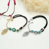 Wholesale Diamond Braid Bracelet - 2017 Fashion Leatheroid Braided Fatima Hand Rotation Evil Eye Charms Bracelets