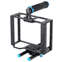 Wholesale Monitor Dslr - Aluminum DSLR Camera Cage Kit With 15mm Rod Rig For DSLR Camera to Mount Microphones, Monitor, Sound Recorders, Top Handle, Follow Focus