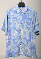 Wholesale Plus Silk Chemise - Wholesale- Men blue printed short sleeve silk shirt floral Hawaii casual clothing plus big size chemise camisa
