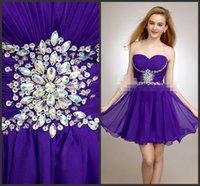 Wholesale Little Girls Dresses Purple - Purple Short Homecoming Dress Peplum Crystals Major Beadings Sequins Dress Chiffon Gown Little Girls Dress Zipper Sleeveless Custom Made